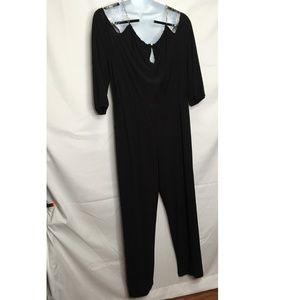 NY Collection Black Cold Shoulder Jumpsuit Sz 3XP